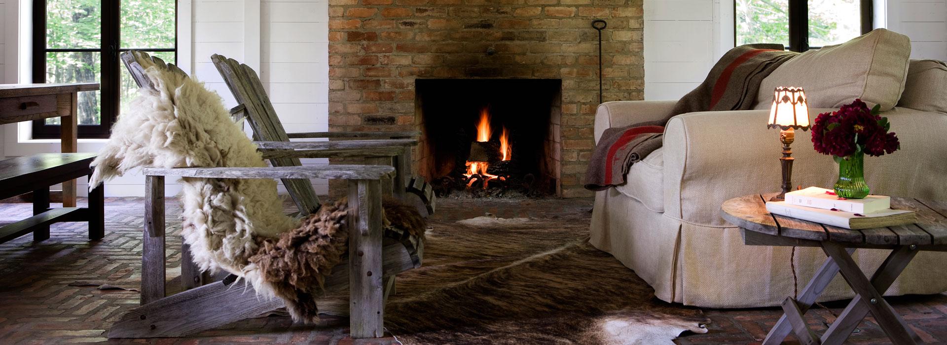 Galerie de maisons salon feu de foyer